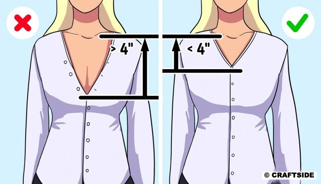 Your office shirt cleavage should not be deeper than 4″ from your collarbone.