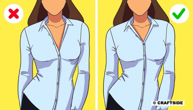 When you are wearing a shirt or a blouse, you can unbutton no more than 2 buttons.