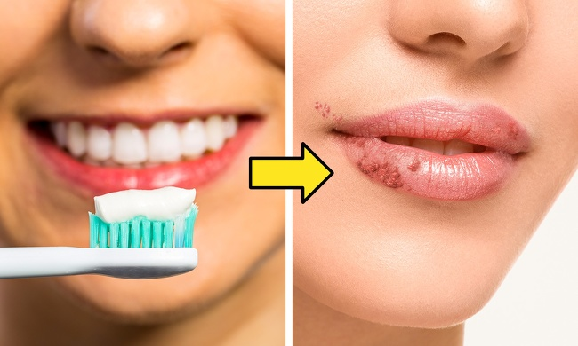 Using a toothbrush for peeling lips