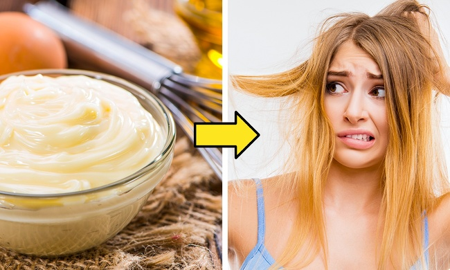Using mayonnaise instead of hair conditioner